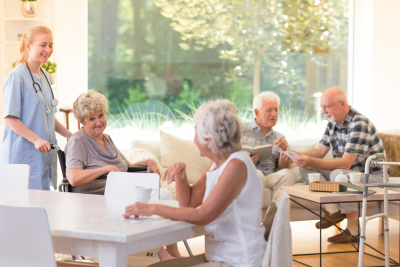 group of seniors in a homecare facility