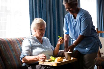 senior woman eating