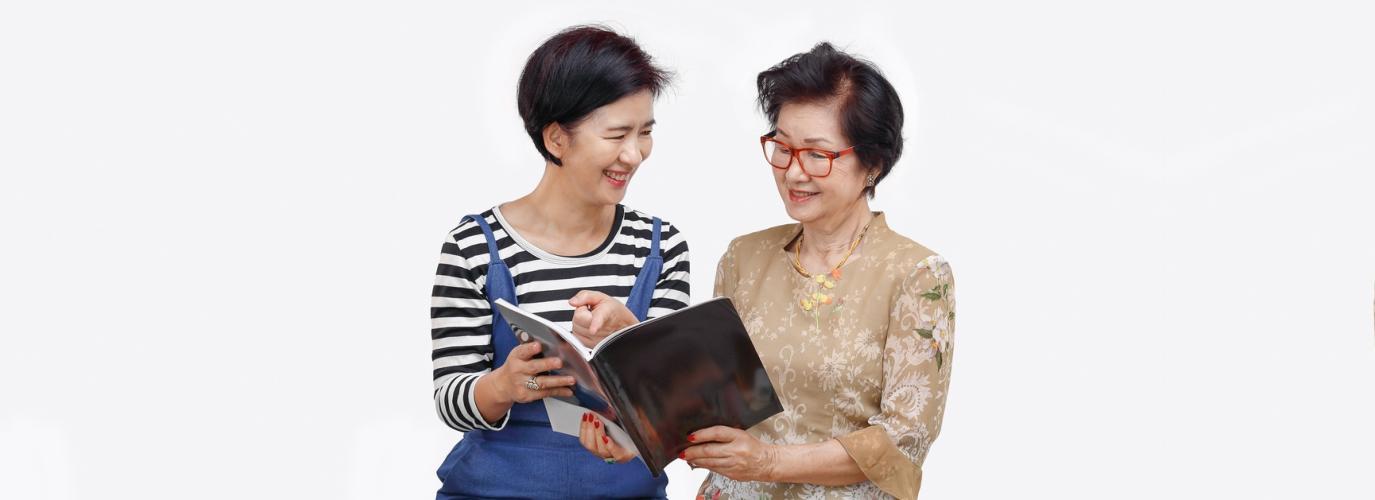 senior woman reading diary